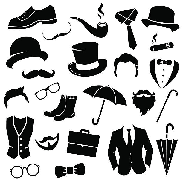 stockillustraties, clipart, cartoons en iconen met retro gentleman icon set. - guy with cigar