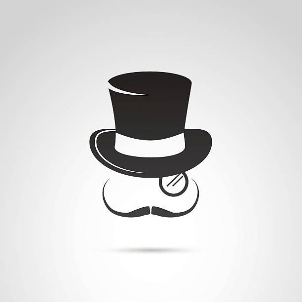 retro gentleman icon. - zylinder stock-grafiken, -clipart, -cartoons und -symbole