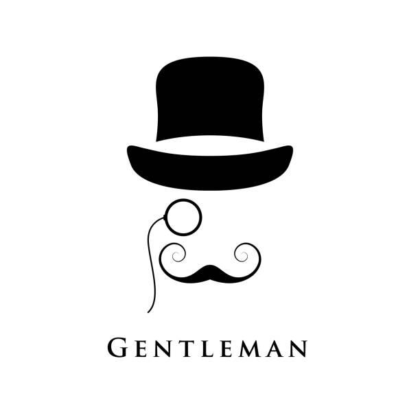 레트로 신사 모자, 접 안 렌즈 및 아름 다운 수염. - 잉글랜드 문화 stock illustrations