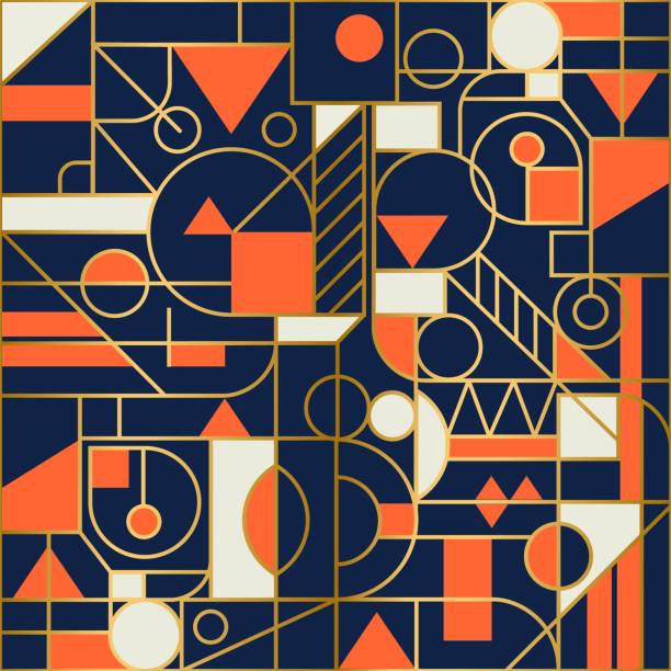 retro geometric abstract seamless background design. modern pattern. - modern art stock illustrations