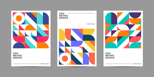 Retro geometric cover Template Placard templates set with Geometric shapes, Retro geometric style flat and line design elements. Retro art for covers, banners, flyers and posters. Eps10 vector illustrations artistic background stock illustrations