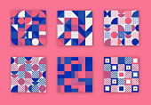 Retro Geometric Covers Collection. Abstract Shapes Concept. Vector Design