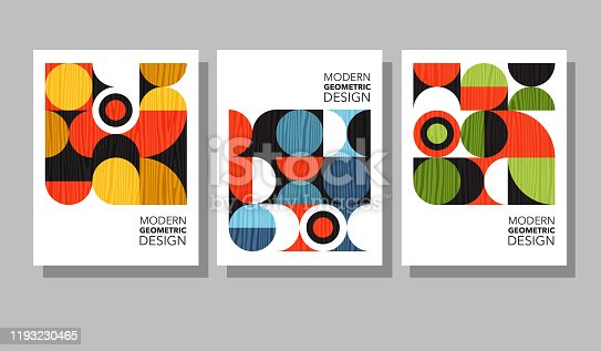 istock Retro geometric graphic design covers. Cool Bauhaus style compositions. 1193230465