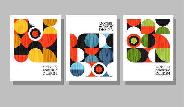 Retro geometric graphic design covers. Cool Bauhaus style compositions. vector art illustration