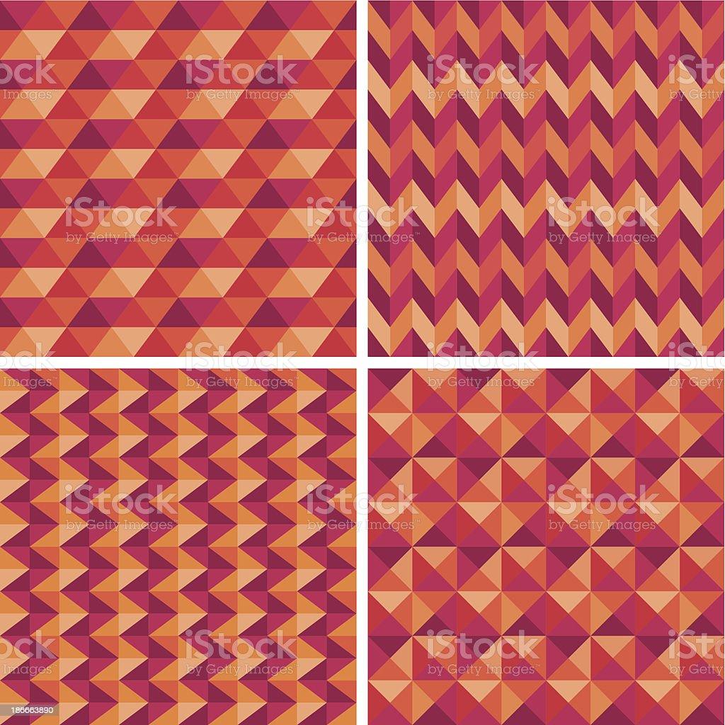 Retro Geometric Patterns, set of four royalty-free stock vector art