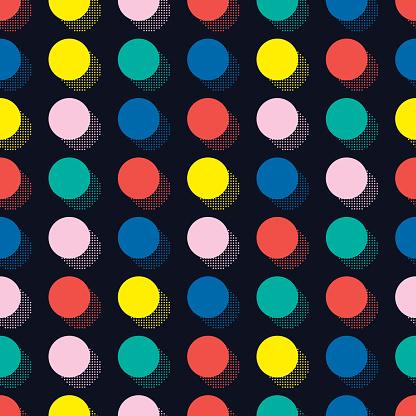 Retro geometric shapes seamless patterns. 80-90s. Circle, round, dot.