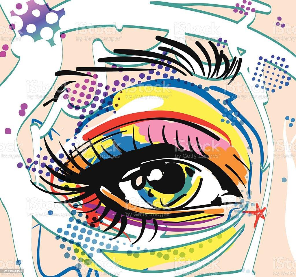 Retro girl Eye in pop art style vector art illustration