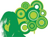 Retro vector of a woman with cool circles in green. Colors can be easily changed to suit your design needs.