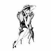 Retro girl in hat. Elegant lady. Graphics. Vector