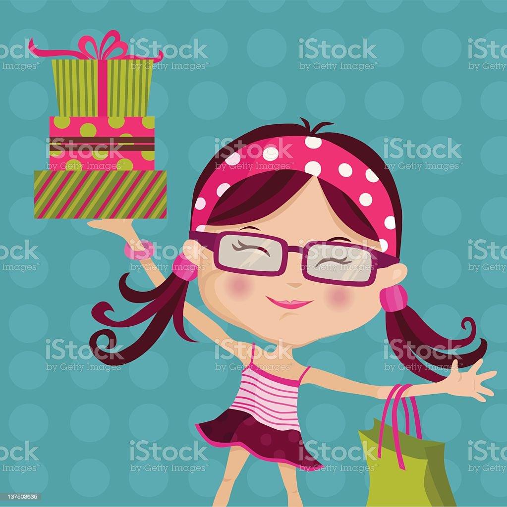 レトロな女の子のギフトショップ - めがねのベクターアート素材や画像を