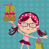 Retro Girl carrying gifts.