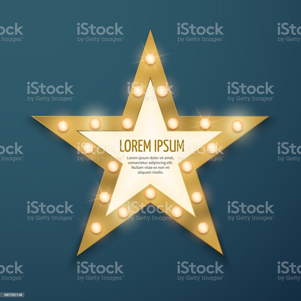 Retro gold star light vintage frame, banner vector art illustration