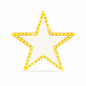 Retro gold star. Vintage frame with lights isolated on white background