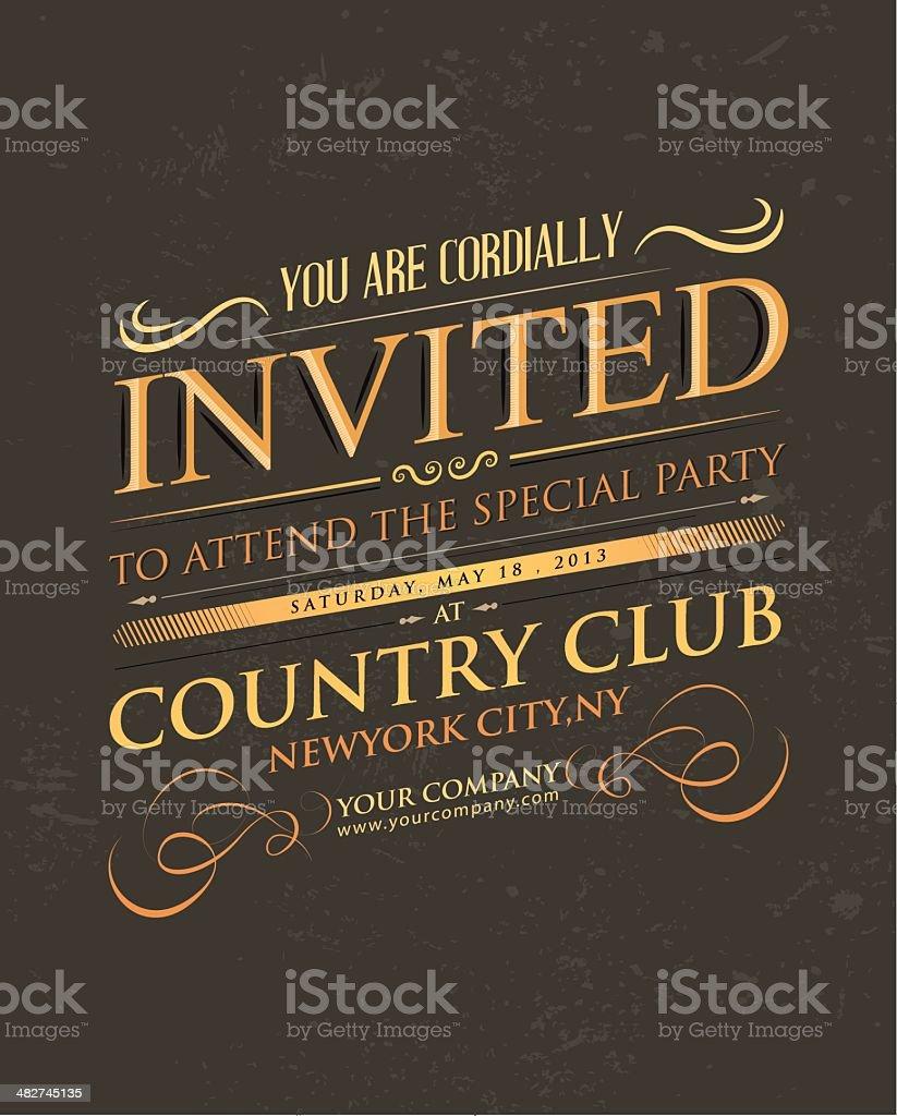 Retro golden Invitation typography royalty-free stock vector art