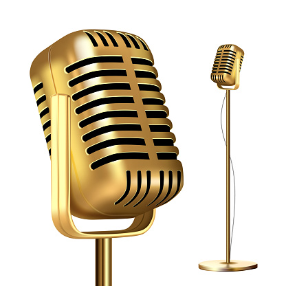 Retro Golden Microphone With Stand Vector. Musician Tool. Media Vocal Element. Illustration