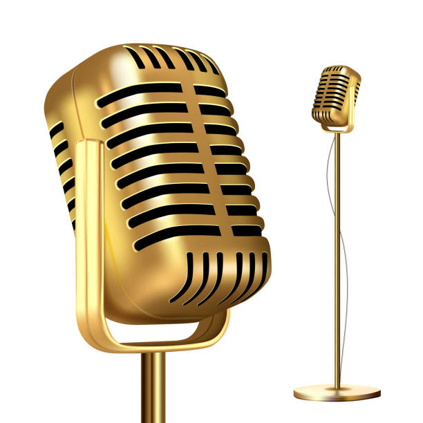 retro golden microphone with stand vector. record stage. live concert. on air. illustration - record analog audio stock illustrations