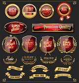 Retro golden ribbons labels and shields vector collection