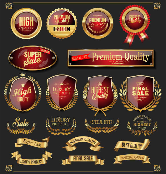 Retro golden ribbons labels and shields vector collection Retro golden ribbons labels and shields vector collection alcohol drink borders stock illustrations