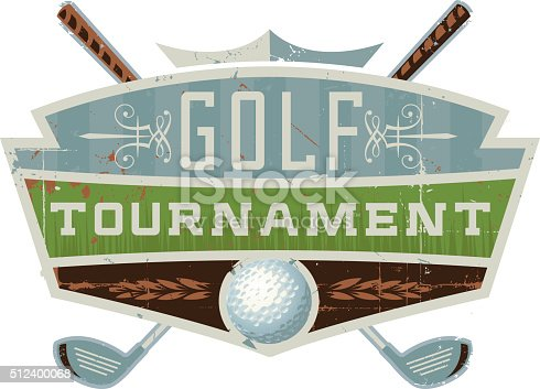 A vector illustration of a golf tournament crest with a golf ball and clubs.