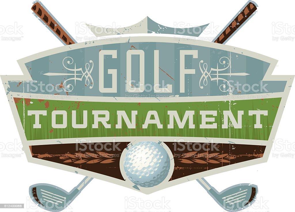 Retro Golf Tournament Crest vector art illustration