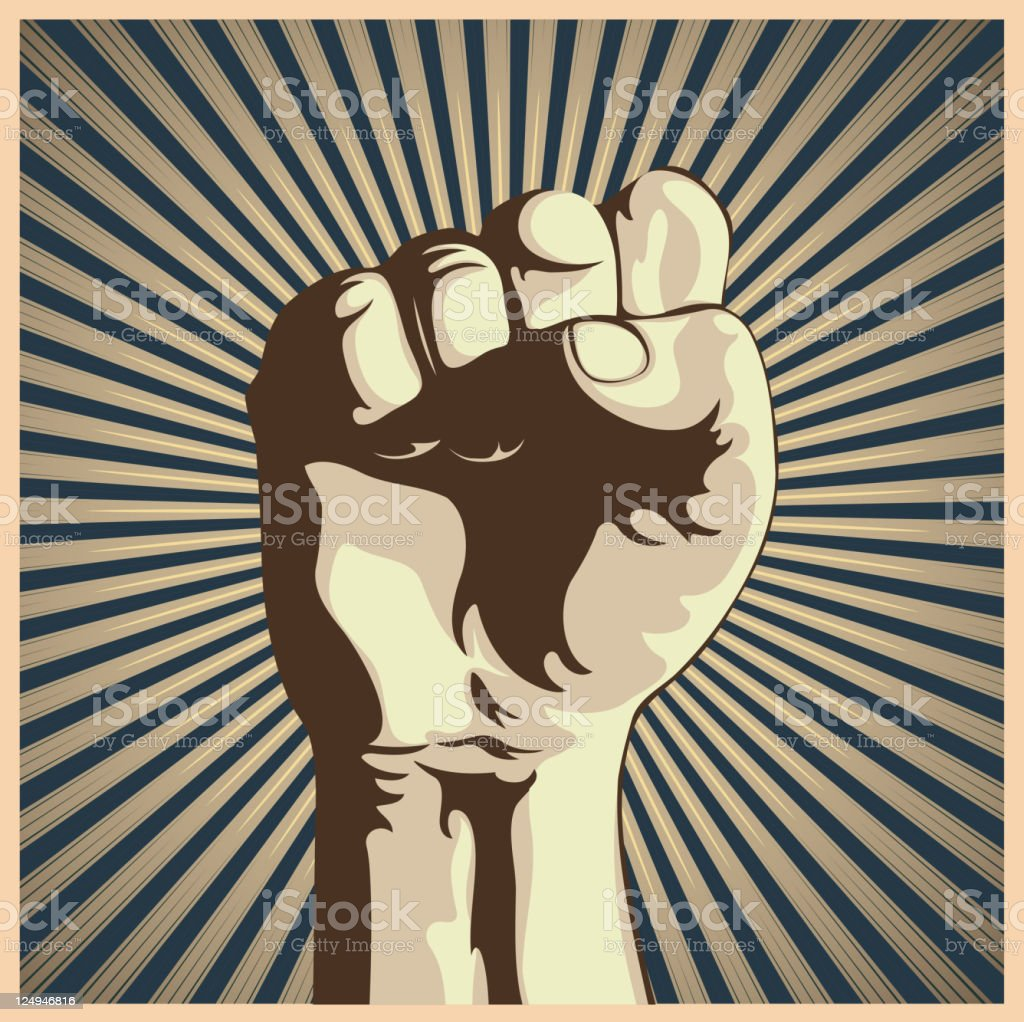 Retro graphic of a clenched fist vector art illustration