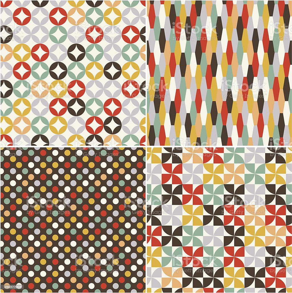 A retro graphic of four patterns royalty-free stock vector art