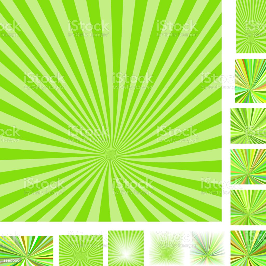 Retro green ray burst background set vector art illustration