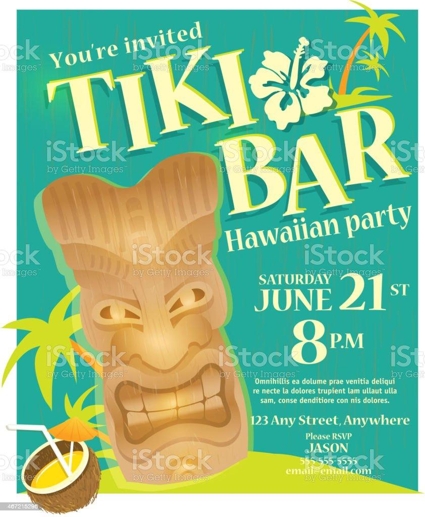 Retro green summer tiki bar hawaiian party invitation design retro green summer tiki bar hawaiian party invitation design template royalty free retro green summer stopboris Gallery