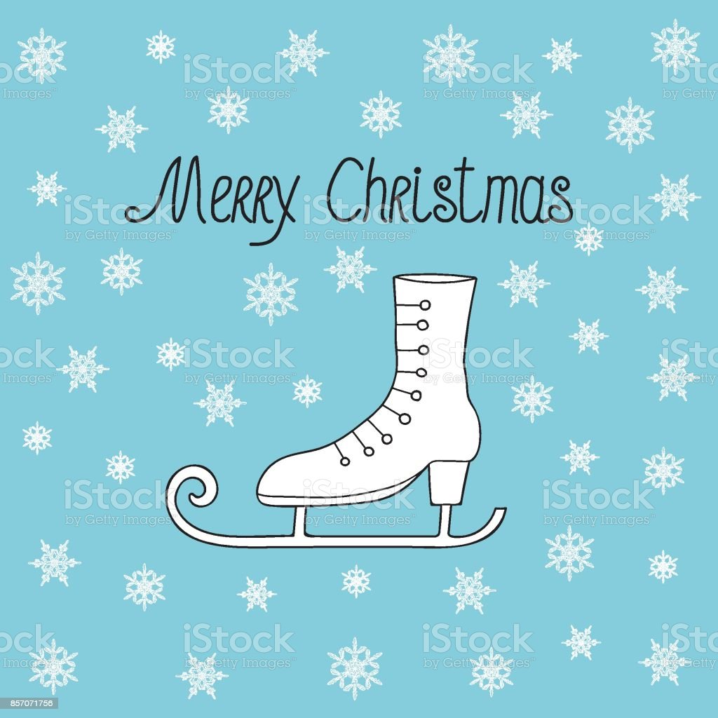 retro greeting card with merry christmas hand lettering and vintage