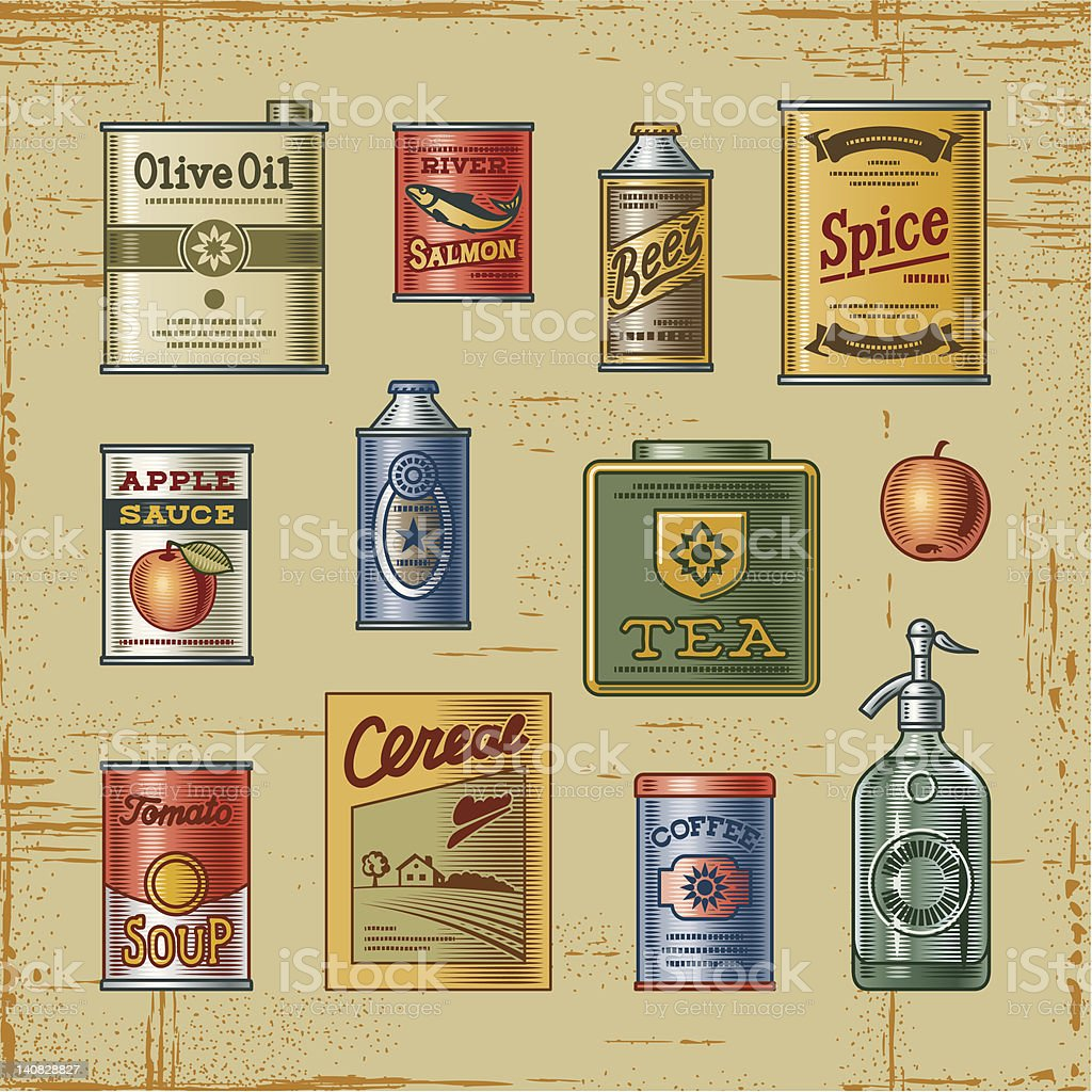 Retro grocery set vector art illustration
