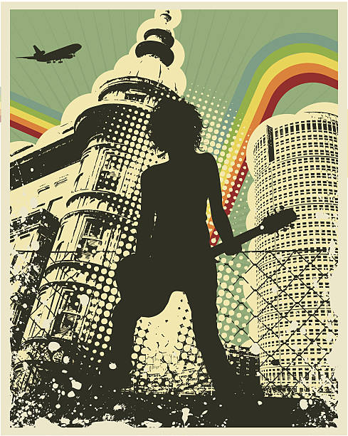 retro grunge city guitar player - 1970s style stock illustrations, clip art, cartoons, & icons