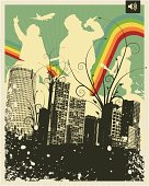 Retro Grunge City Rock Band Vector Illustration