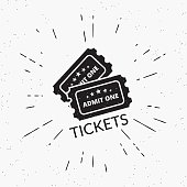 Retro grunge illustration of two black tickets