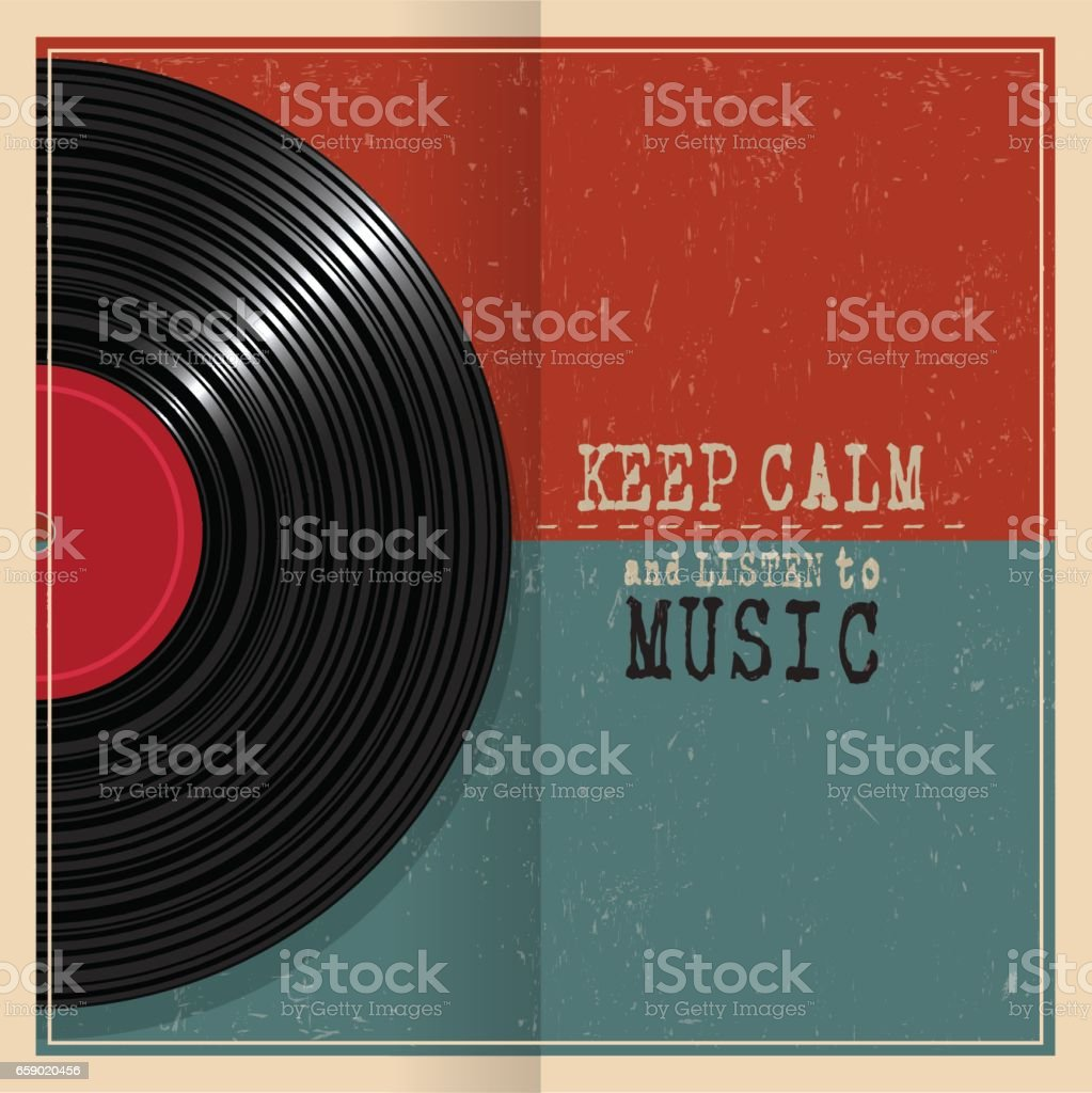 Retro grunge poster with Vinyl disk record and quote Keep calm royalty-free retro grunge poster with vinyl disk record and quote keep calm stock vector art & more images of art