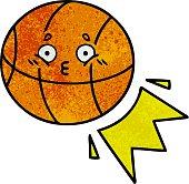 retro grunge texture cartoon basketball