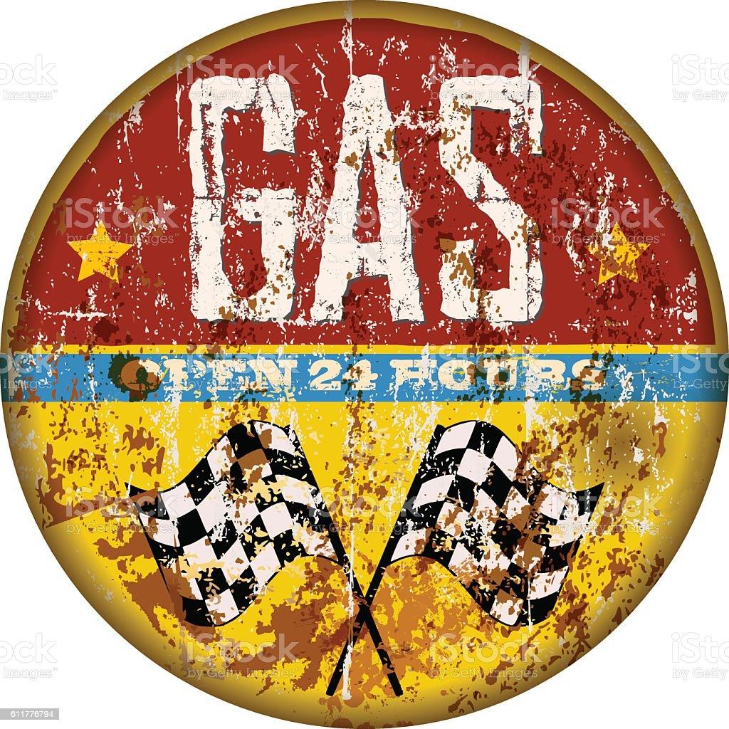 Retro grungy gas station sign – Vektorgrafik
