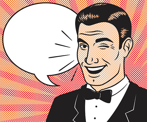 Retro Halftone Comic Book Character with Speech Bubble A retro halftoned illustration of a comic book style character. CMYK vector EPS file with a high resolution RGB JPEC included in download. Shapes are layered and grouped. There is a minor clipping mask on the speech bubble that can easily be removed. tuxedo stock illustrations