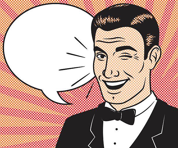 ilustrações de stock, clip art, desenhos animados e ícones de retro meios-tons de banda desenhada carácter com balão de fala - smoking