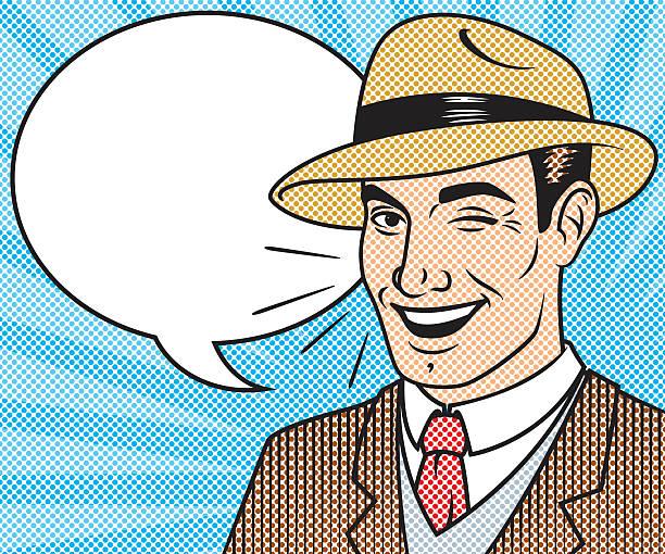 retro halftone comic book character with speech bubble - retro comics stock illustrations, clip art, cartoons, & icons