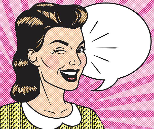 illustrazioni stock, clip art, cartoni animati e icone di tendenza di mezzitoni retrò fumetti con discorso pensiero - fare l'occhiolino