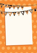 Halloween bunting with polka dots in orange. With Halloween icons - ghosts, corn candy, cat, spider, bat & owl. Design at top, leaving space for copy. Ideal for invite.