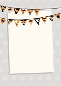 Halloween bunting with polka dots & stripes in orange, black & white. With Halloween icons - ghosts, corn candy, cat, spider, bat & owl. Design at top, leaving space for copy. Ideal for invite.