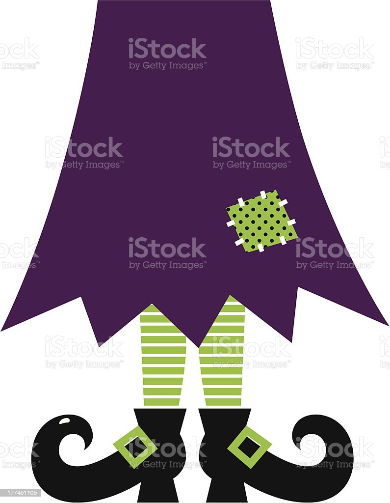 Retro Halloween witch legs isolated on white ( green and purple ) royalty-free stock vector art