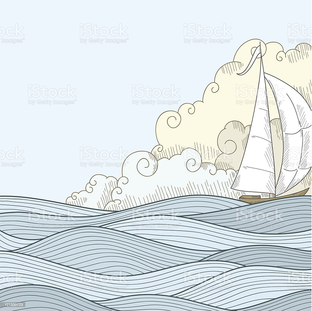 Retro hand draw styled sea with clouds and sailor boat vector art illustration