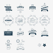 Retro hand drawn elements for Summer calligraphic designs