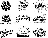 Retro hand drawn elements for Summer calligraphic designs. Vintage ornaments for Holidays.