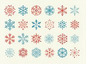 Snowflakes, illustration on layers. Global colors used. Hand drawn engraving.