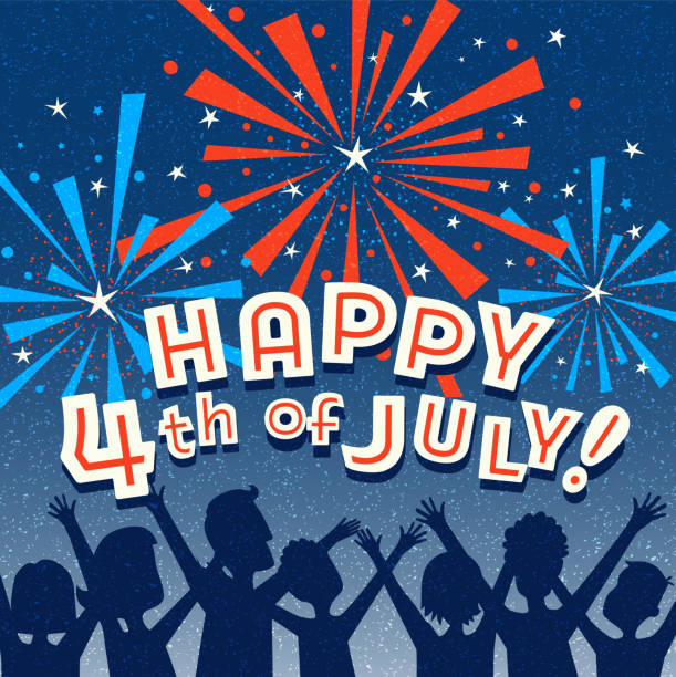 Retro Happy 4th of July design with family watching fireworks. vector art illustration