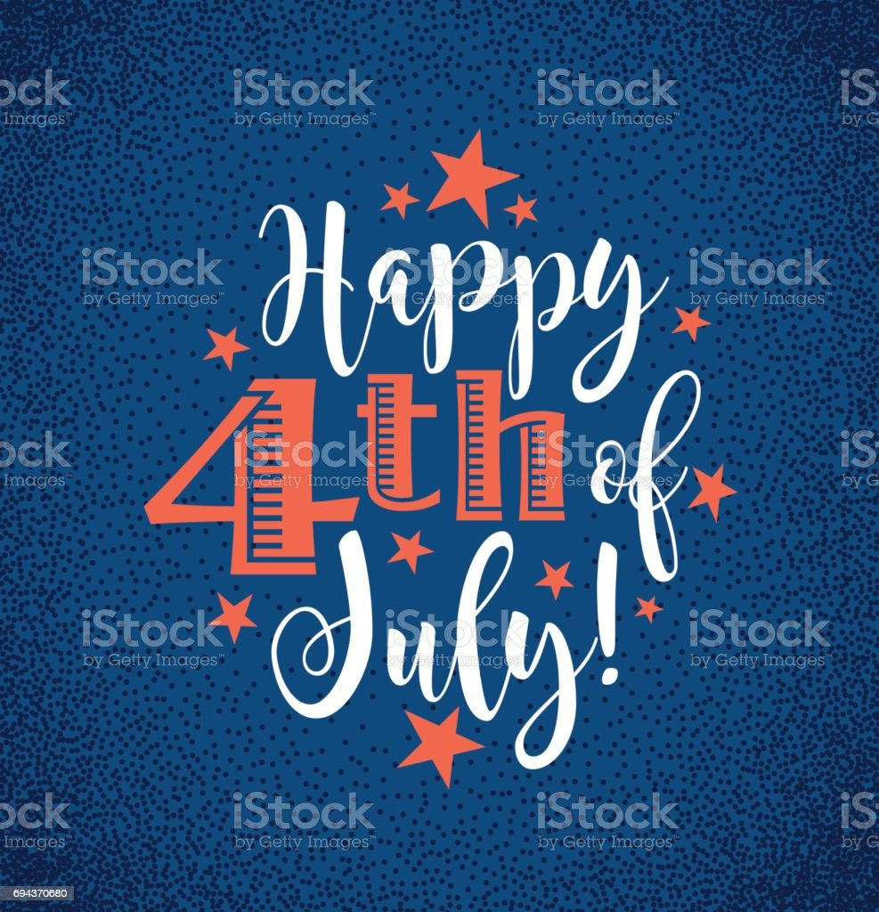 Retro Happy 4th of July typography design for greeting cards, web page banners, posters vector art illustration