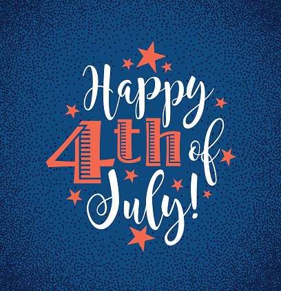 Retro Happy 4th Of July Typography Design For Greeting Cards Web Page Banners Posters Stock Illustration - Download Image Now